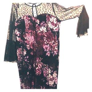 Sexy print mesh floral bell sleeves dress. NEW